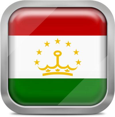 Tajikistan square flag with metallic frame