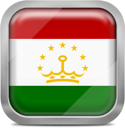 Tajikistan square flag with metallic frame