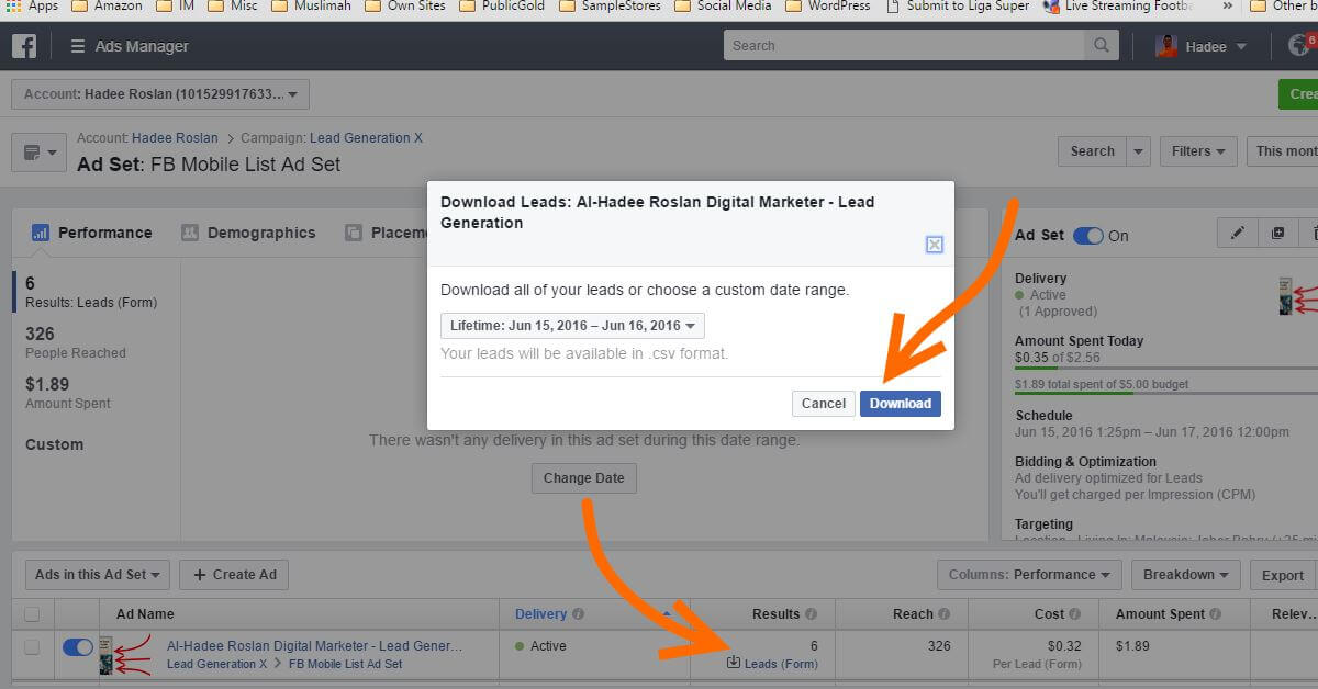 Ads Manager Lead Form Leads Download