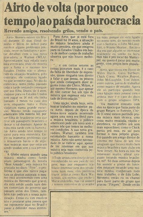 Airto Moreira, Airto de volta (por pouco tempo) ao país da burocracia - Jornal de Música 1977-08