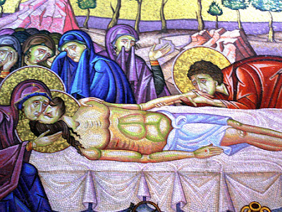 Mosaic in the Church of the Holy Sepulchre on Good Friday in Jerusalem Israel