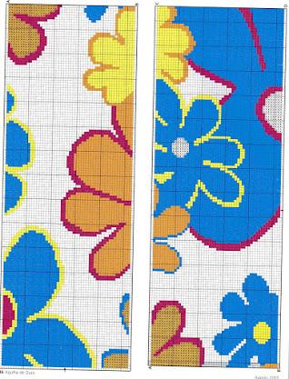 schema per asciugamani  a punto croce con fiori e cuori
