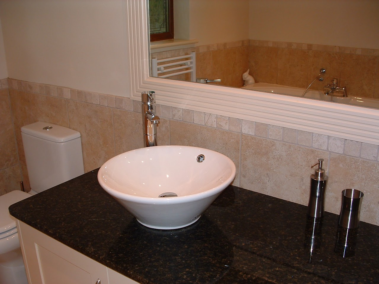 Bathrooms   China Overbowls Sitting On Ubatuba Gold Granite Top