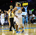 Sky players celebrate after the win (WNBA:  Chicago Sky 83 vs. Minnesota Lynx 70, Allstate Arena, Rosemont, Illinois, September 11, 2012)
