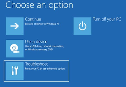 Troubleshooting option of system restore