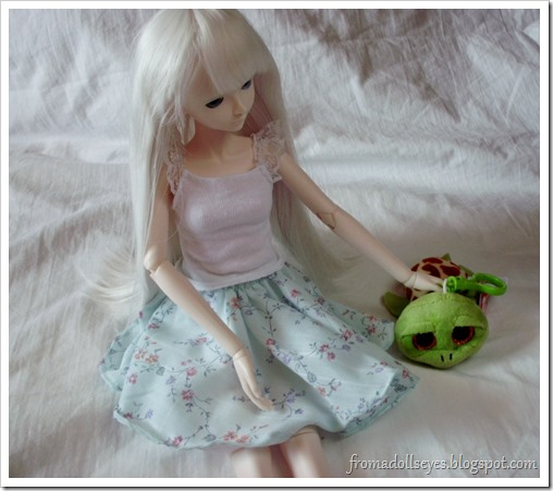 BJD Making Friends with a Plush Turtle