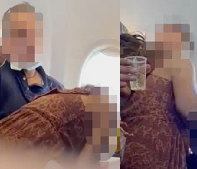 Passenger filmed 'performing husband and wife bed act' on man mid-flight
