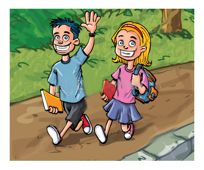 Back home from school cartoon picture