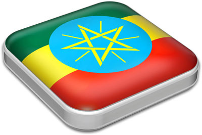 Flag of Ethiopia with metallic square frame