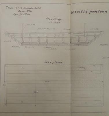 Лебедочный понтон для углубителя.(Из материалов Эстонского государственного архива)