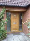 Oak doorset with glazed sidelights
