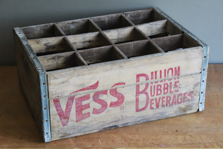 Vess soda crates available for rent from www.momentarilyyours.com, $4 each.