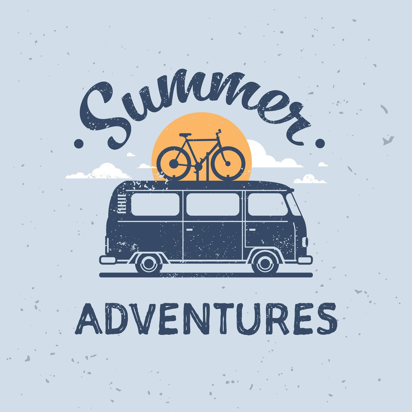 Summer Adventures Surf Bus Bike Retro Surfing Vintage	 Free Download Vector CDR, AI, EPS and PNG Formats