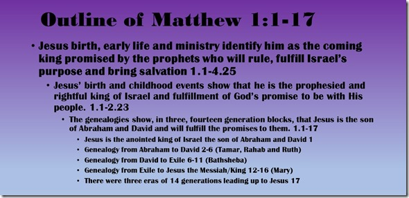 Outline of Matthew 1.1-17