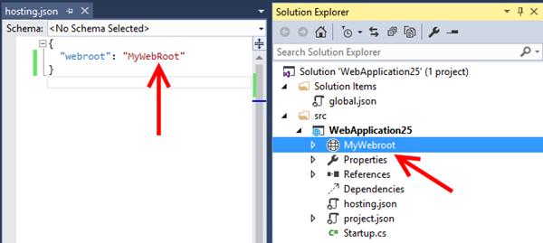 Configuración de webroot en hosting.json