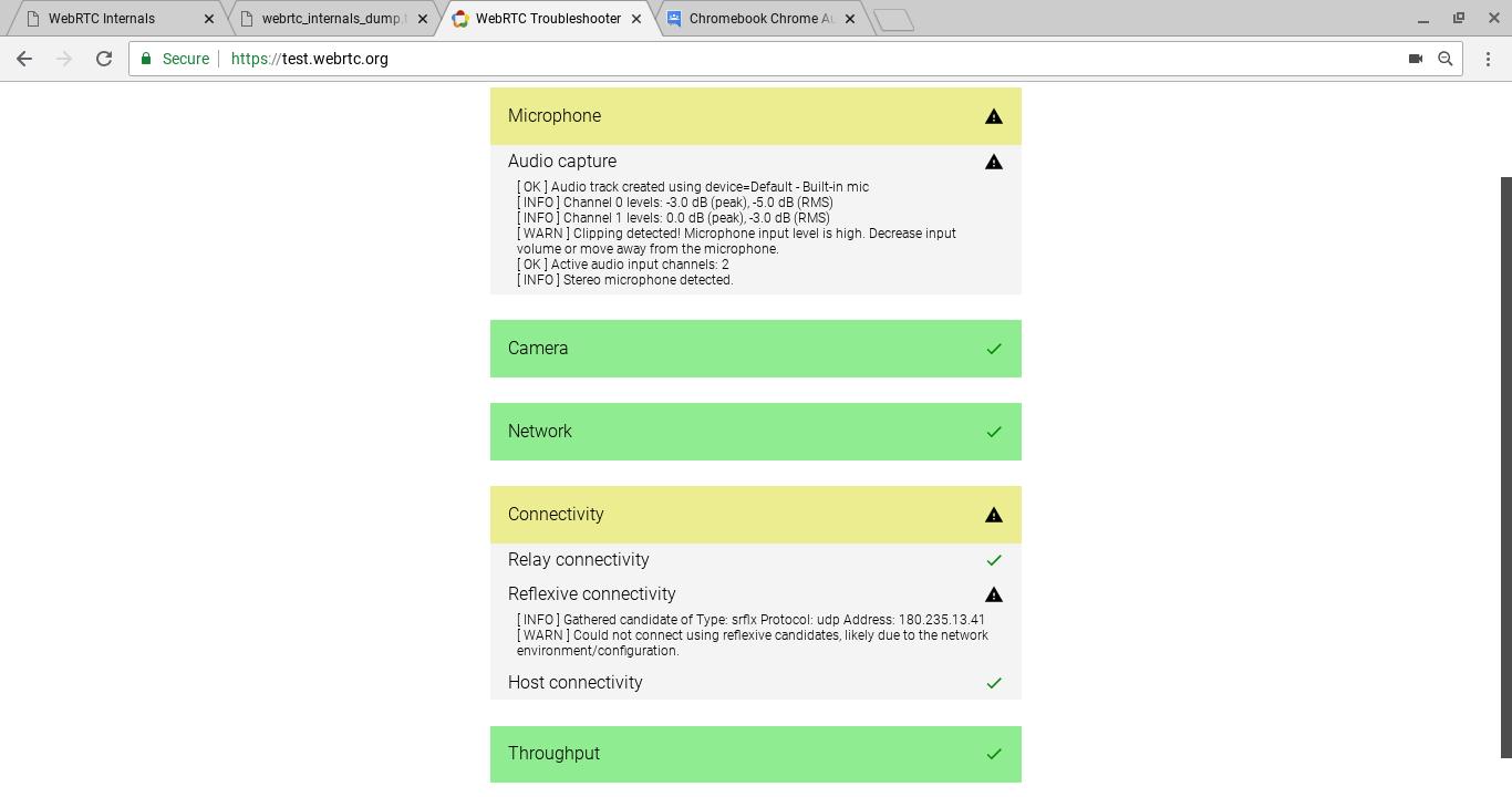 Chromebook Chrome Audio CONNECTION_ERROR - failed callStateCallback