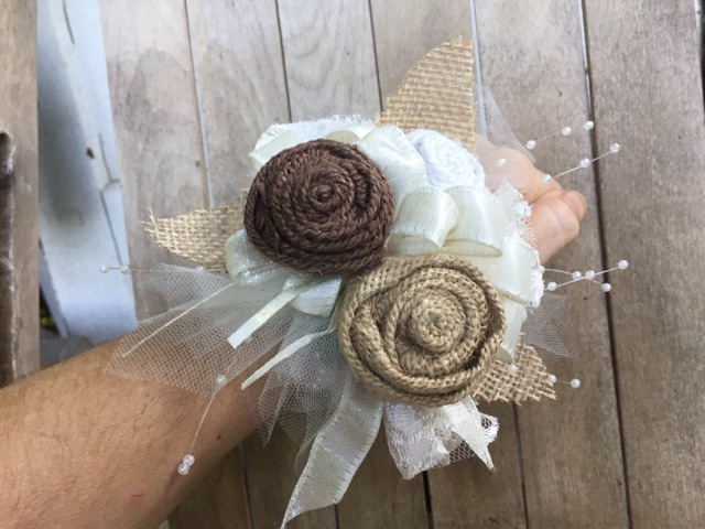 burlap wrist corsage for Mother of the Bride