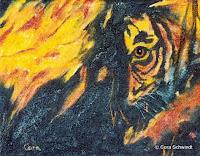 'Tiger im Feuer', Öl auf Leinwand, 26x20, 2003, verkauft