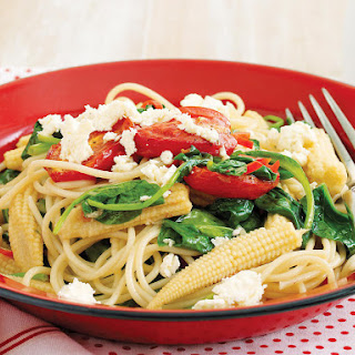 Spaghetti with Roasted Tomatoes, Spinach, and Baby Corn.