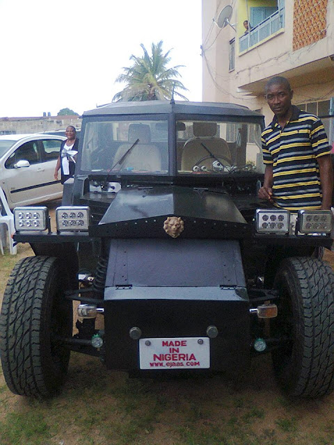 Nigerian Man Shows Off His Vehicle Made With Locally Sourced Materials. Photos