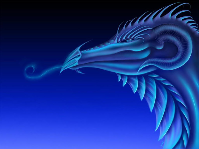 Fantasy Dragon Dragons Blue Head, Dragons