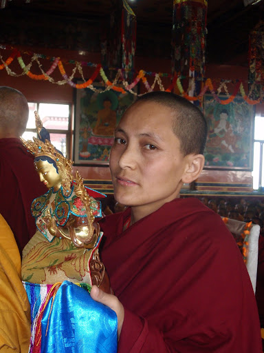 Nun during long life puja Kopan Monastery 2008.