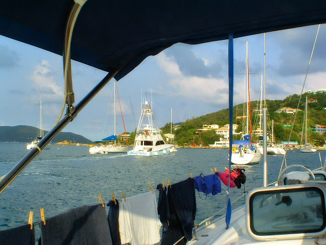 Getting our domestics done, laundry drying in the trade winds.
