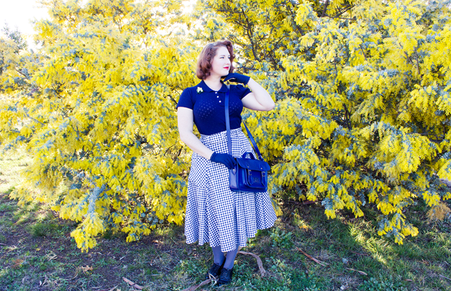 Navy Robin Knit Top & Navy Gingham Mia Skirt by Collectif | Lavender & Twill