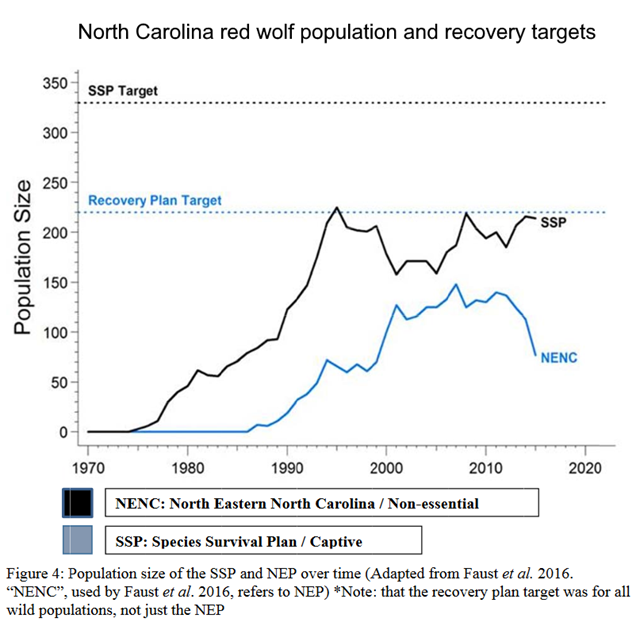 Population size of the red wolf population in North Carolina. Graphic: USFWS