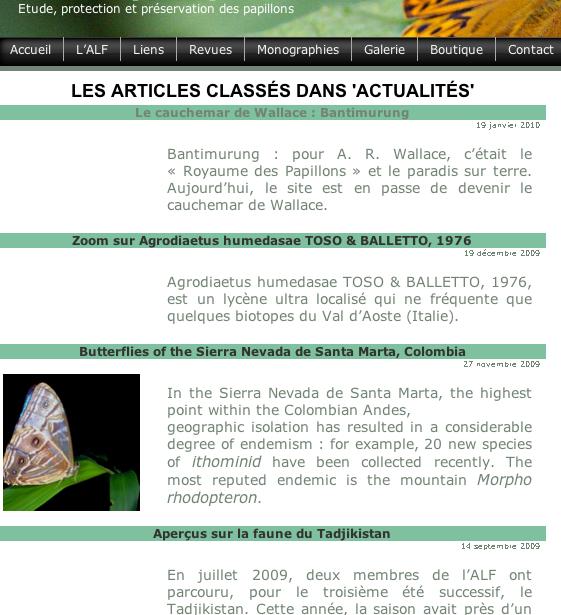 """10. Contenu de la rubrique (ou catégorie) """"actualités""""."""