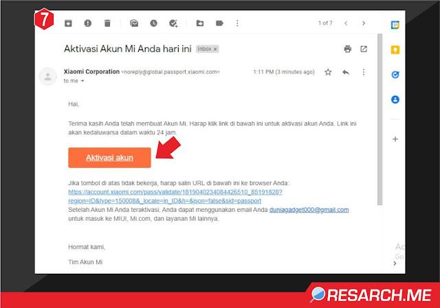 isi email aktivasi dari Xiaomi