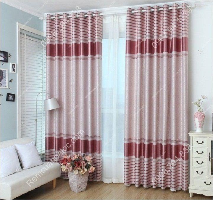 Rèm cửa cao cấp đẹp một màu có diềm hồng 2