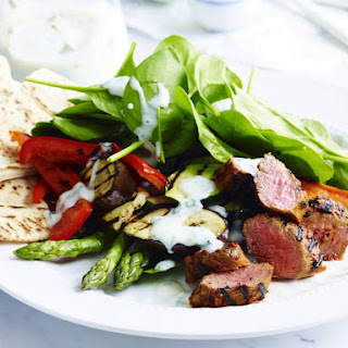 Red Pepper Jelly Lamb with Grilled Vegetables.