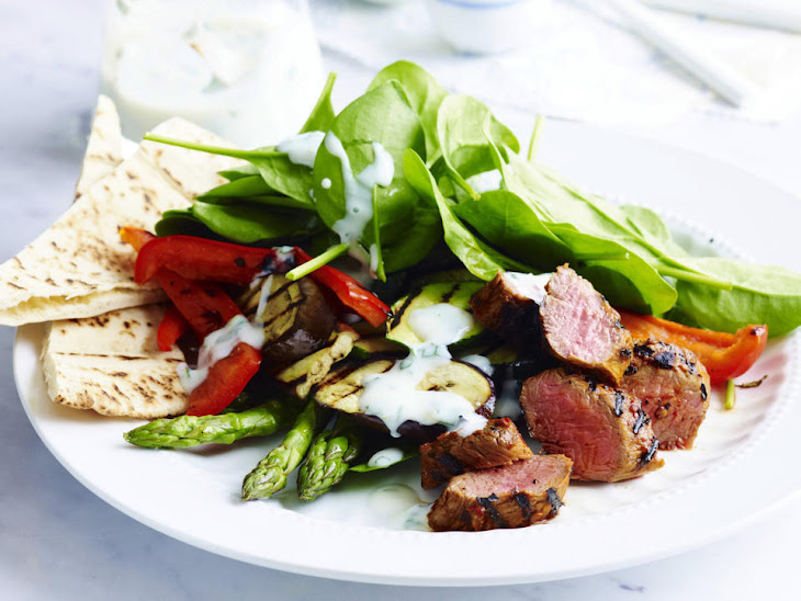 Red Pepper Jelly Lamb with Grilled Vegetables Recipe