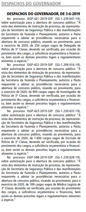 Novo concurso PC SP autorizado.