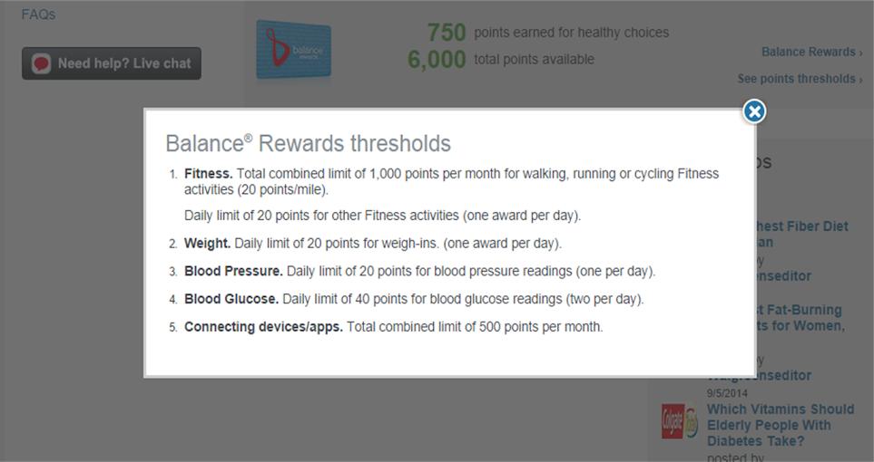 Balance Rewards Point Earning Thresholds