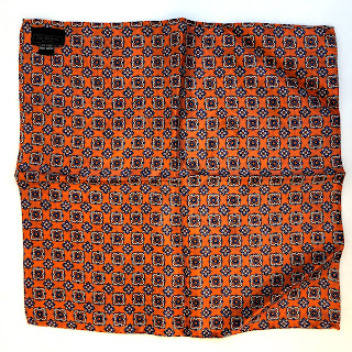 Saks Fifth Avenue Orange Paisley Pocket Square
