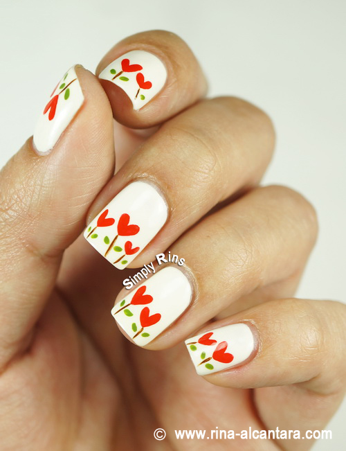 Planted Hearts Nail Art Design by Simply Rins