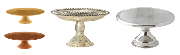 Metallic cake stands