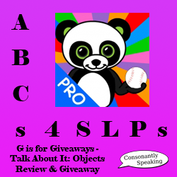 ABCs 4 SLPs: G is for Giveaways - Talk About It: Objects Review and Giveaway image