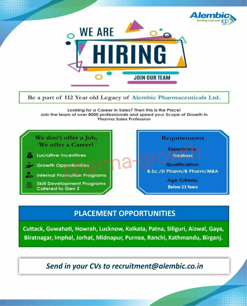 Alembic Pharmaceuticals Ltd - Urgently Opening for Fresher | Apply CV Now