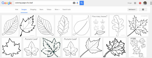 coloring pictures of a leaf