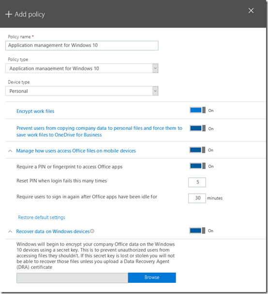 Microsoft 365 Application Management for Windows 10 mappings