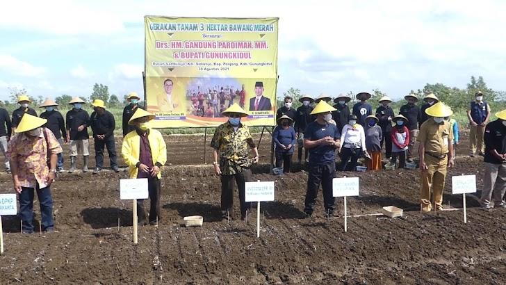 Dorong Petani Bangkit, Gandung Pardiman Salurkan Bantuan dan Pimpin Gerakan Tanam Bawang