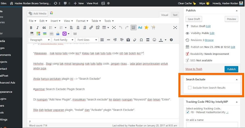 Search Exclude Page Editor