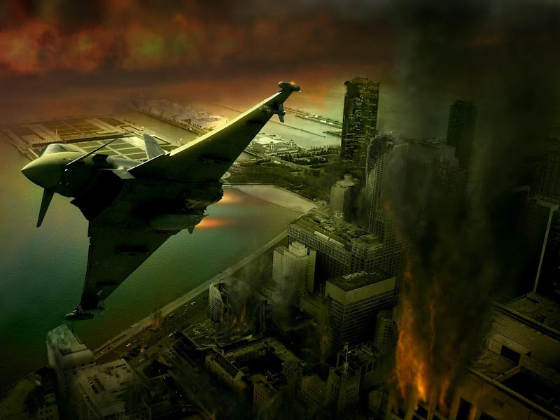 Fighter Over The Destroyed City, Fiction 1