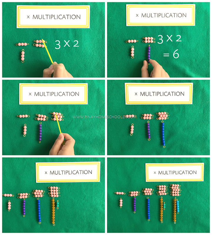 Multiplication Using Montessori Colored Bead Bars