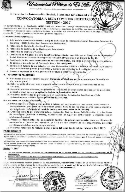 Upea 2017 convocatoria a beca comedor institucional gesti n 2017 la upea universidad p blica - Becas comedor 2017 ...