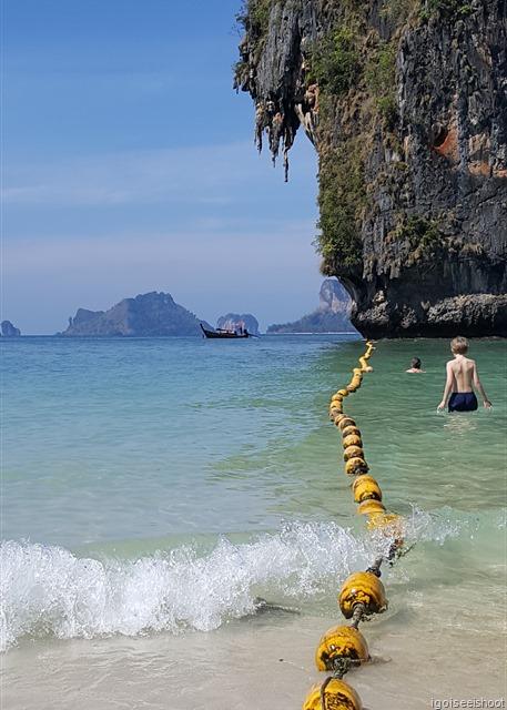 Swimming at Phra Nang Beach, Railay Peninsula, Krabi