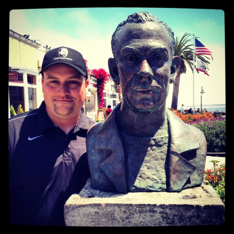 cannery row walking tour and history of fishing on the bay and here s me and a bust of steinbeck on cannery row